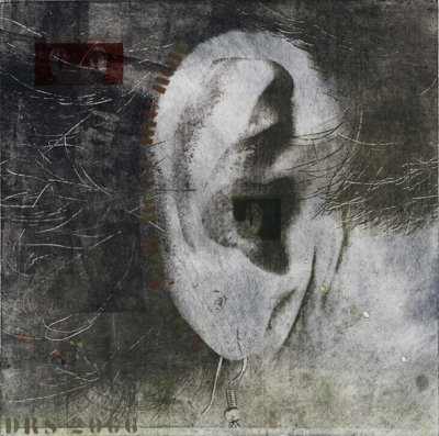 #11 - Can you hear me now - Ear charcoal 20 X 20