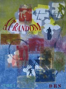 At Random in blue - monotype with transfers  18 X 24