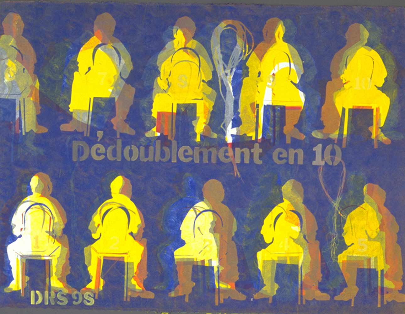 Dédoublement en 10 - monotype  30 X 22