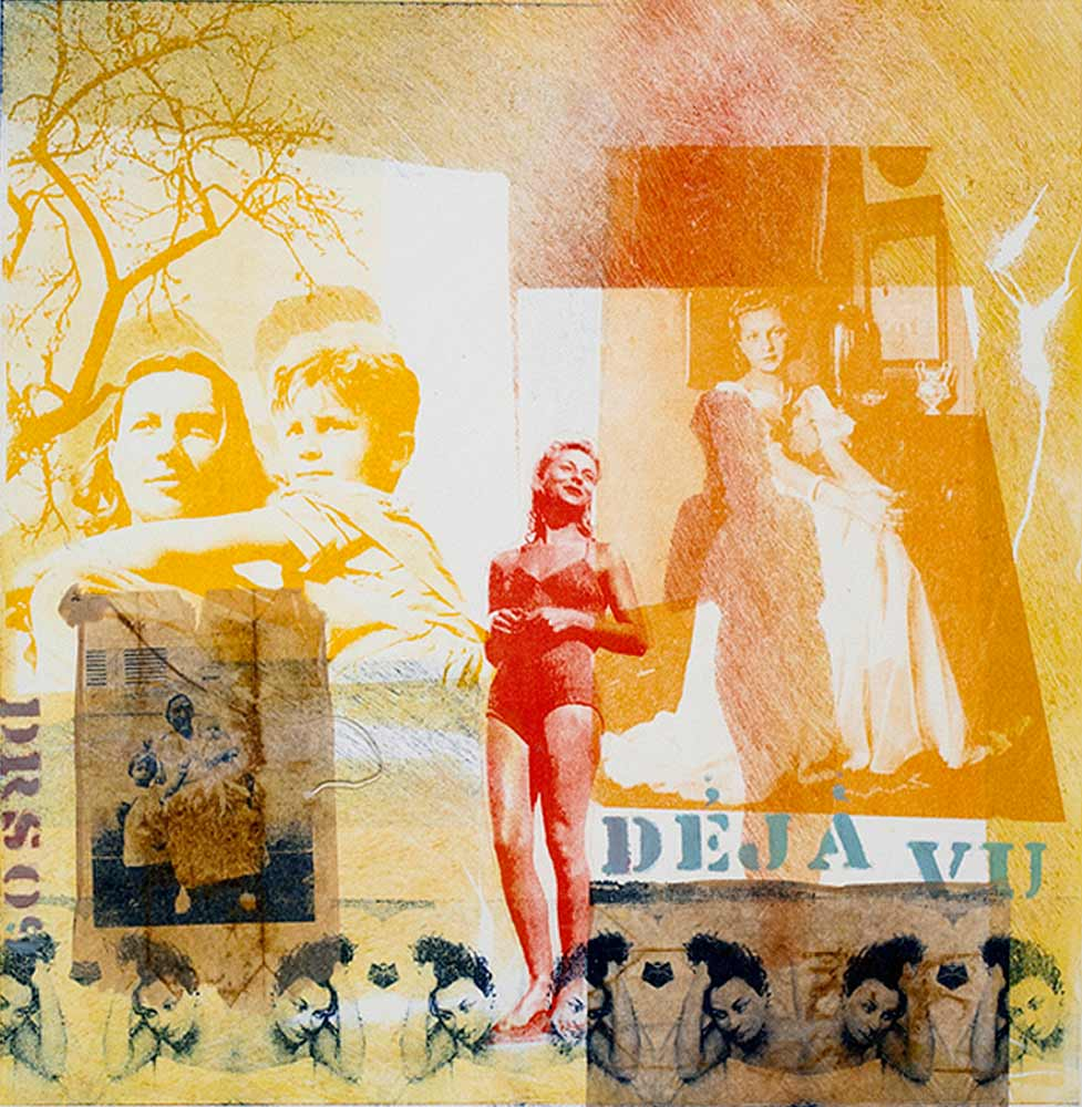 Déjà vu - monotype with transfers and collage  16 X 16