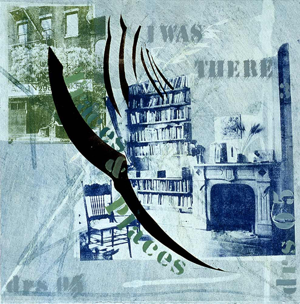 I was there in blue - monotype with transfers  16 X 16