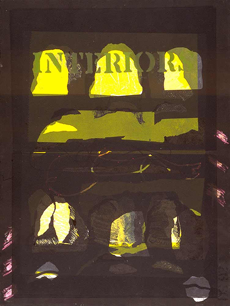 Interiors in yellow - monotype  22 X 30