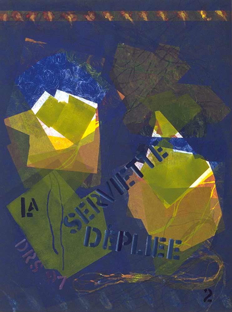 La Serviette dépliée - monotype  18 X 24