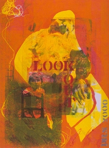 Look out - monotype with transfers  12 X 18