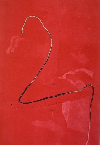 String in red - monotype  18 X 24