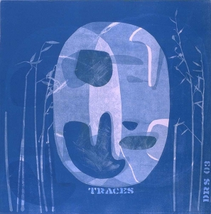 Traces blue - monotype  20 X 20