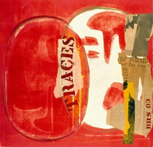 Traces red with paper - monotype and collage  20 X 20