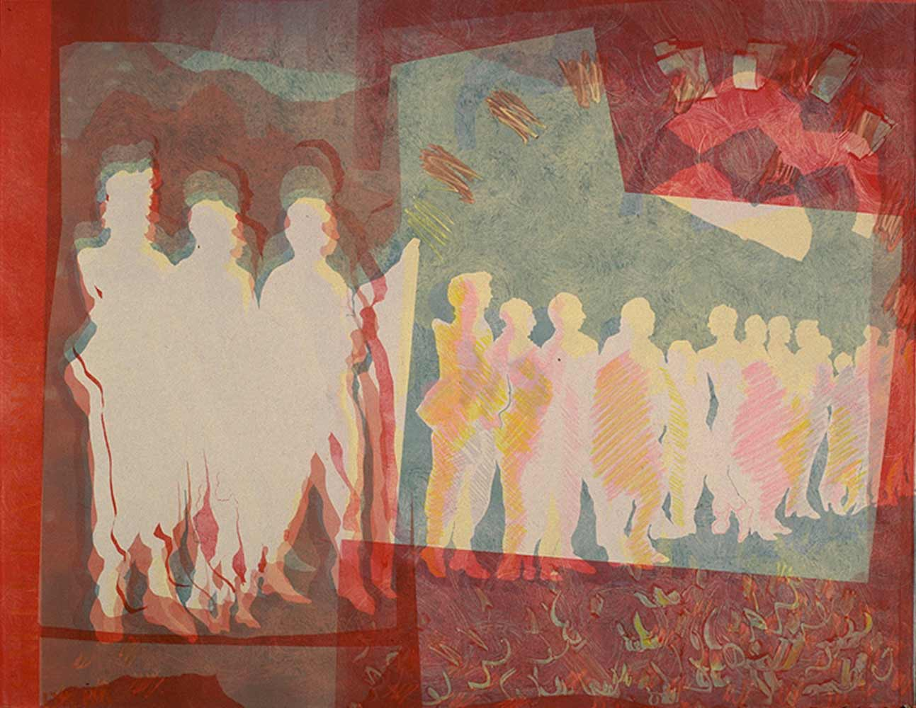 La queue in red - monotype  22 X 30